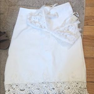 White Lace Bralette & Skirt Outfit